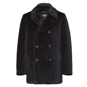 Midnight Blue Alpaca and Mohair Pea Coat