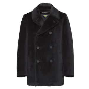 Midnight Blue Alpaca and Mohair Pea Coat