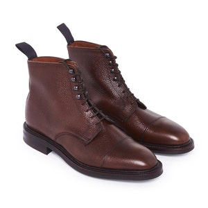 Brown Grain Leather Laced Tarron Boots