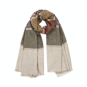 Natural and Green Cashmere Wide Stripe Scarf