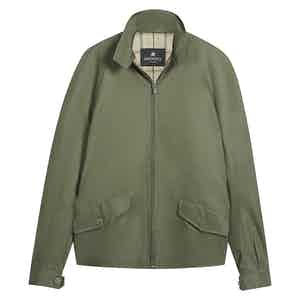 Olive Cotton Zipped Golfer Jacket