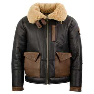 Chocolate Sheepskin Leather Patrol Bomber