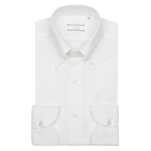 White Cotton Oxford Buttoned-Collar Shirt