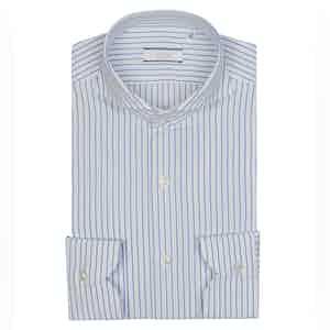 White and Sky Blue Egyptian Cotton Stripe Shirt