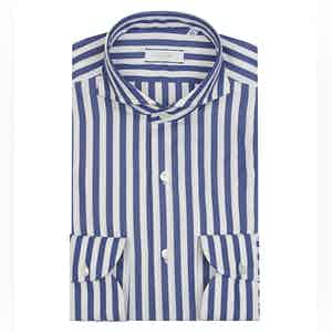 Blue and White Egyptian Cotton Wide Stripe Shirt