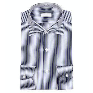 White, Green and Blue Egyptian Cotton Stripe Shirt