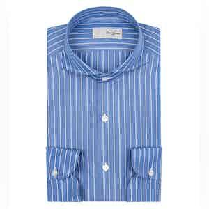 Mid-Blue and White Stripe Cotton Anna Barone Cutaway Collar Shirt