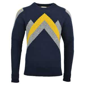 Navy and Dijon Lambswool Ski Race Jumper