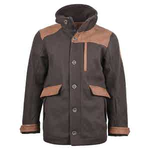 Coffee Bean Wool and Leather Alpine Outrig Jacket