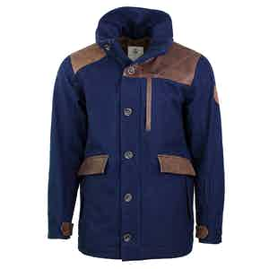 Navy Wool and Leather Alpine Outrig Jacket