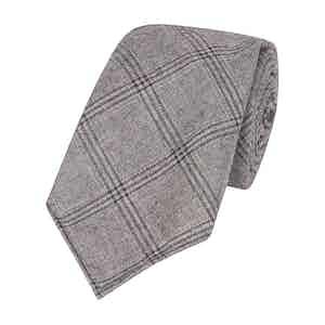 Grey Wool Ten-Fold Large Check Tie