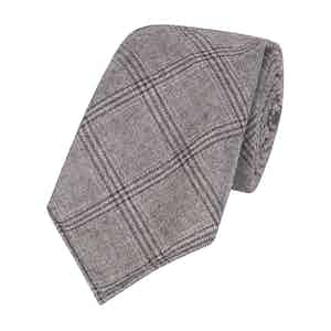 Grey Wool Ten-Fold Large Check Tie