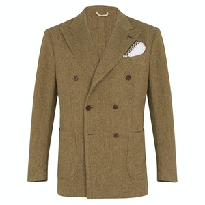 Green Wool Double-Breasted Herringbone Jacket
