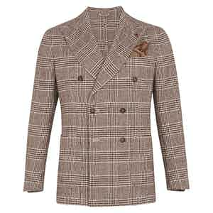 Brown Wool Double-Breasted Prince of Wales Jacket