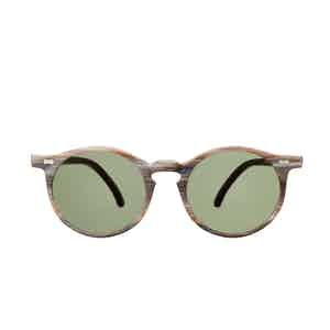 Canvas Brown Brushed Acetate Bottle Green Lens Sunglasses