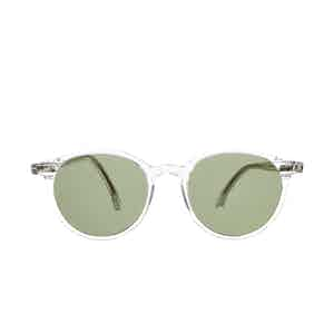 Cran Transparent Acetate Bottle Green Lens Sunglasses