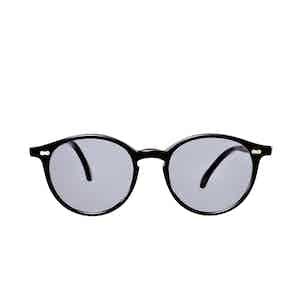 Cran Black Acetate Gradient Grey Lens Sunglasses