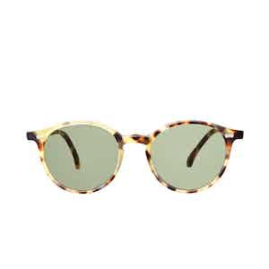 Cran Matte Light Tortoiseshell Acetate Bottle Green Lens Sunglasses