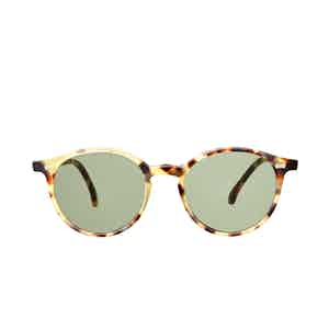 Cran Matte Light Tortoiseshell Acetate Bottle Green Lens Sunglasses