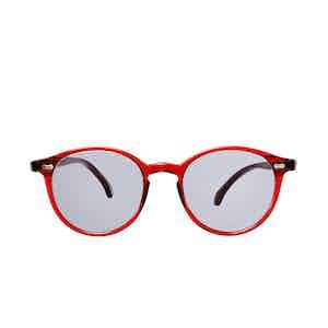 Cran NGA Red Acetate Gradient Grey Lens Sunglasses