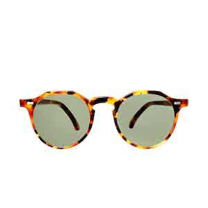 Lapel Amber Tortoiseshell Acetate Bottle Green Lens Sunglasses