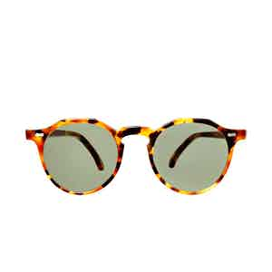 Lapel Amber Tortoiseshell Acetate Bottle Green Lens Sunglasses