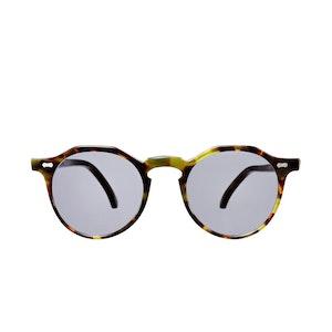 Lapel Green Tortoiseshell Acetate Gradient Grey Lens Sunglasses