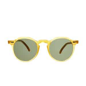Lapel Honey Acetate Bottle Green Lens Sunglasses