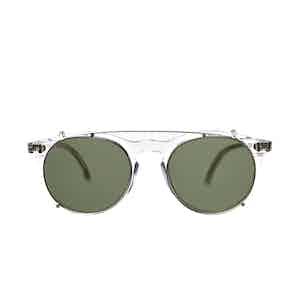 Pleat Transparent Acetate Bottle Green Lens Sunglasses