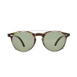Pleat Green Tortoiseshell Acetate Bottle Green Lens Sunglasses