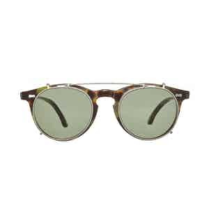 Pleat Green Tortoiseshell Acetate Bottle Green Lens Sunglasses