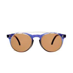 Pleat Dark Blue Acetate Tobacco Lens Sunglasses