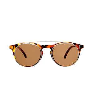 Pleat Amber Tortoiseshell Acetate Tobacco Lens Sunglasses