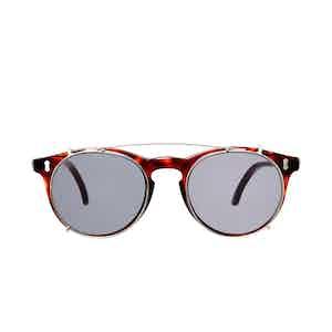 Pleat Classic Tortoiseshell Acetate Gradient Grey Lens Sunglasses