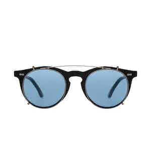 Pleat Black Acetate Silver-Blue Lens Sunglasses