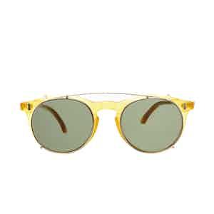 Pleat Honey Acetate Bottle Green Lens Sunglasses