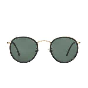 Crossbreed Black Metal and Acetate Bottle Green Lens Sunglasses