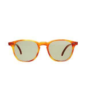 Shetland Classic Tortoiseshell Acetate Bottle Green Lens Sunglasses