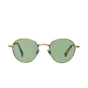 Vicuna Brass Metal Bottle Green Lens Sunglasses