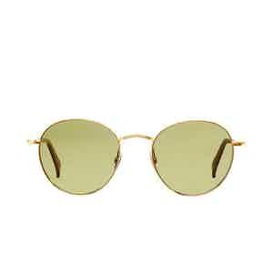 Vicuna Gold Rhodium Bottle Green Lens Sunglasses