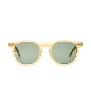 Twill Champagne Satin Acetate Bottle Green Lens Sunglasses