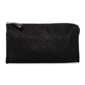 Black Deer Leather Washbag with Mirror