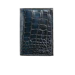 Dark Blue Alligator Hand-Painted Bifold Card Holder N°4