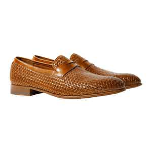 Andrea Cognac Leather Woven Penny Loafers