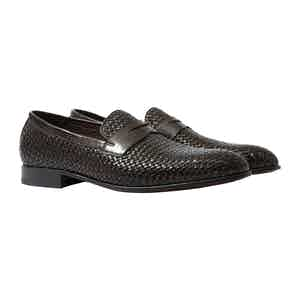 Andrea Moro Leather Woven Penny Loafers