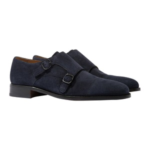 Gervasio Abisso Blue Suede Double-Strap Monk Shoes