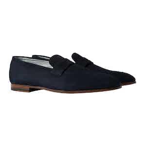 Marzio Abisso Blue Suede Penny Loafers