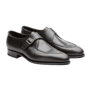 Black Leather Clapham Monk Strap Shoes