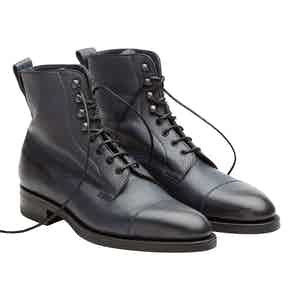 Navy Calfskin Leather Galway Utah Laced Boots
