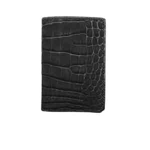Black Nubuck Alligator Bifold Card Holder N°4